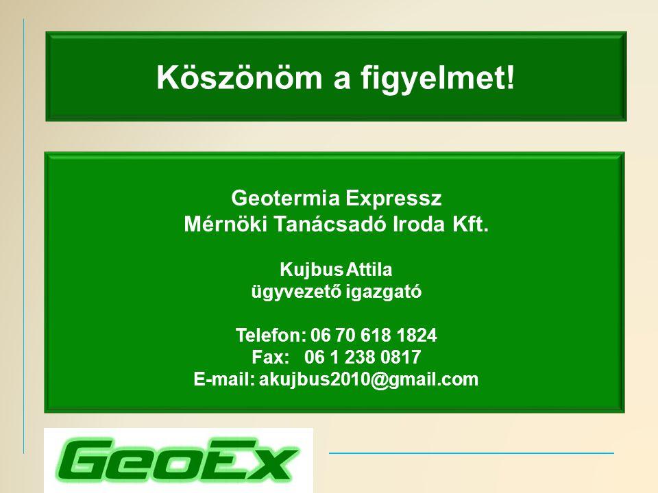 Köszönöm a figyelmet! Geotermia Expressz Mérnöki Tanácsadó Iroda Kft. Kujbus Attila ügyvezető igazgató Telefon: 06 70 618 1824 Fax: 06 1 238 0817 E-ma