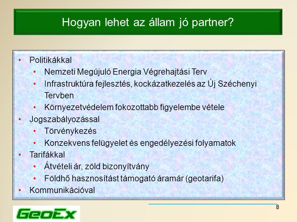 8 Hogyan lehet az állam jó partner? •Politikákkal •Nemzeti Megújuló Energia Végrehajtási Terv •Infrastruktúra fejlesztés, kockázatkezelés az Új Széche