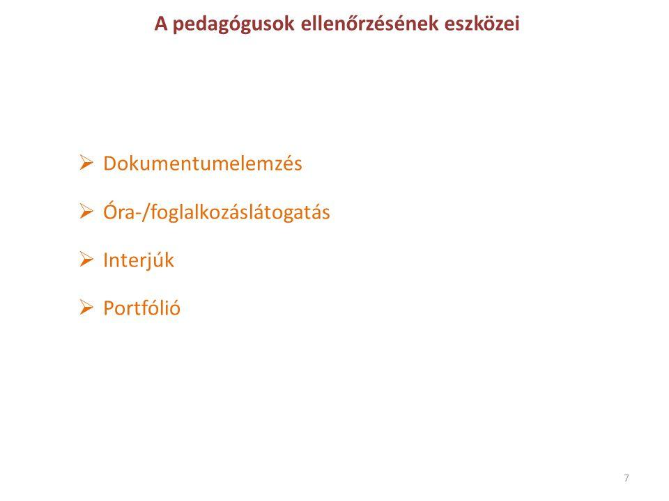 A pedagógusok ellenőrzésének eszközei  Dokumentumelemzés  Óra-/foglalkozáslátogatás  Interjúk  Portfólió 7