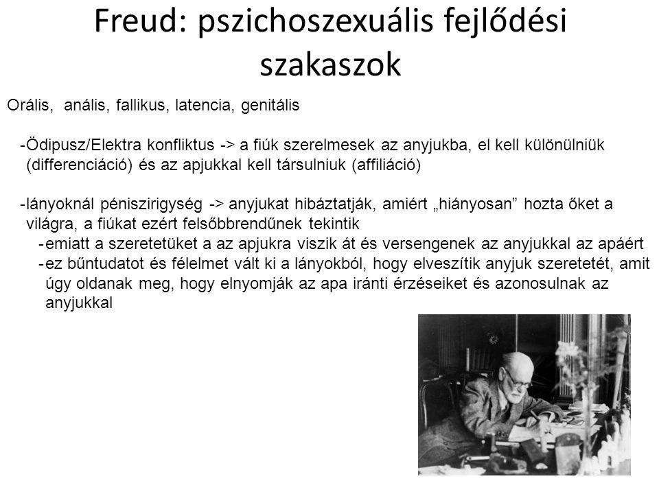 """Freud: pszichoszexuális fejlődési szakaszok Orális, anális, fallikus, latencia, genitális -Ödipusz/Elektra konfliktus -> a fiúk szerelmesek az anyjukba, el kell különülniük (differenciáció) és az apjukkal kell társulniuk (affiliáció) -lányoknál péniszirigység -> anyjukat hibáztatják, amiért """"hiányosan hozta őket a világra, a fiúkat ezért felsőbbrendűnek tekintik -emiatt a szeretetüket a az apjukra viszik át és versengenek az anyjukkal az apáért -ez bűntudatot és félelmet vált ki a lányokból, hogy elveszítik anyjuk szeretetét, amit úgy oldanak meg, hogy elnyomják az apa iránti érzéseiket és azonosulnak az anyjukkal"""