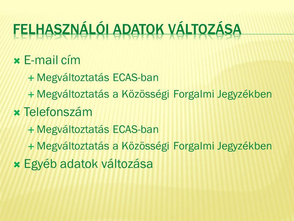  E-mail cím  Megváltoztatás ECAS-ban  Megváltoztatás a Közösségi Forgalmi Jegyzékben  Telefonszám  Megváltoztatás ECAS-ban  Megváltoztatás a Köz