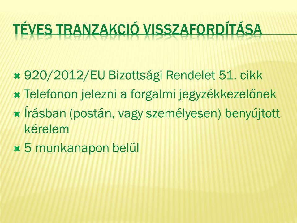  920/2012/EU Bizottsági Rendelet 51. cikk  Telefonon jelezni a forgalmi jegyzékkezelőnek  Írásban (postán, vagy személyesen) benyújtott kérelem  5