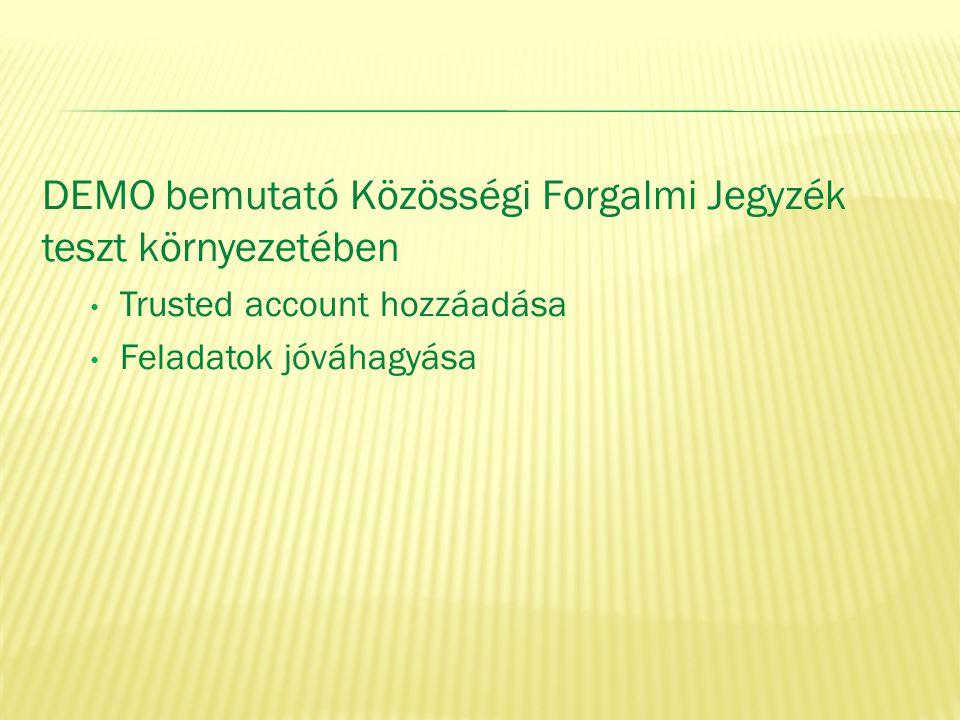 DEMO bemutató Közösségi Forgalmi Jegyzék teszt környezetében • Trusted account hozzáadása • Feladatok jóváhagyása