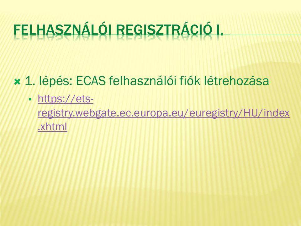  1. lépés: ECAS felhasználói fiók létrehozása  https://ets- registry.webgate.ec.europa.eu/euregistry/HU/index.xhtml https://ets- registry.webgate.ec
