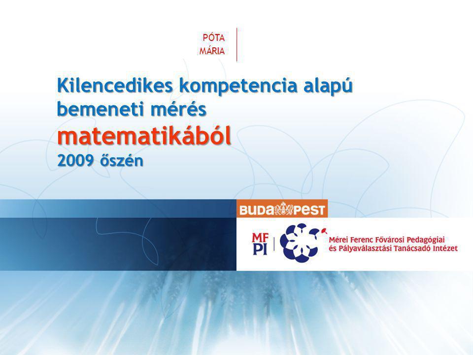 VEZETÉKNÉV KERESZTNÉV Kilencedikes kompetencia alapú bemeneti mérés matematikából 2009 őszén PÓTA MÁRIA