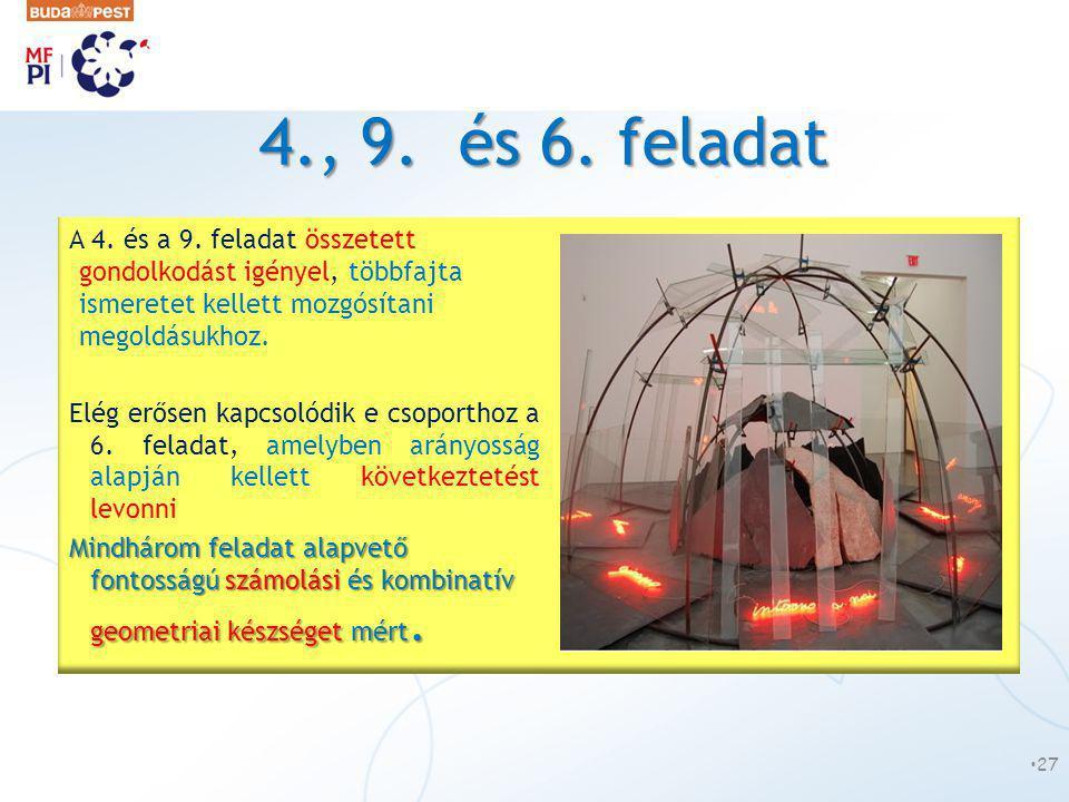 4., 9. és 6. feladat A 4. és a 9. feladat összetett gondolkodást igényel, többfajta ismeretet kellett mozgósítani megoldásukhoz. Elég erősen kapcsolód