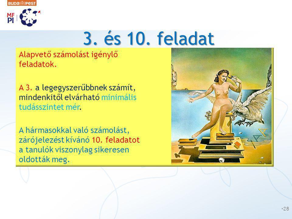 3. és 10. feladat •28 Alapvető számolást igénylő feladatok. A 3. a legegyszerűbbnek számít, mindenkitől elvárható minimális tudásszintet mér. A hármas