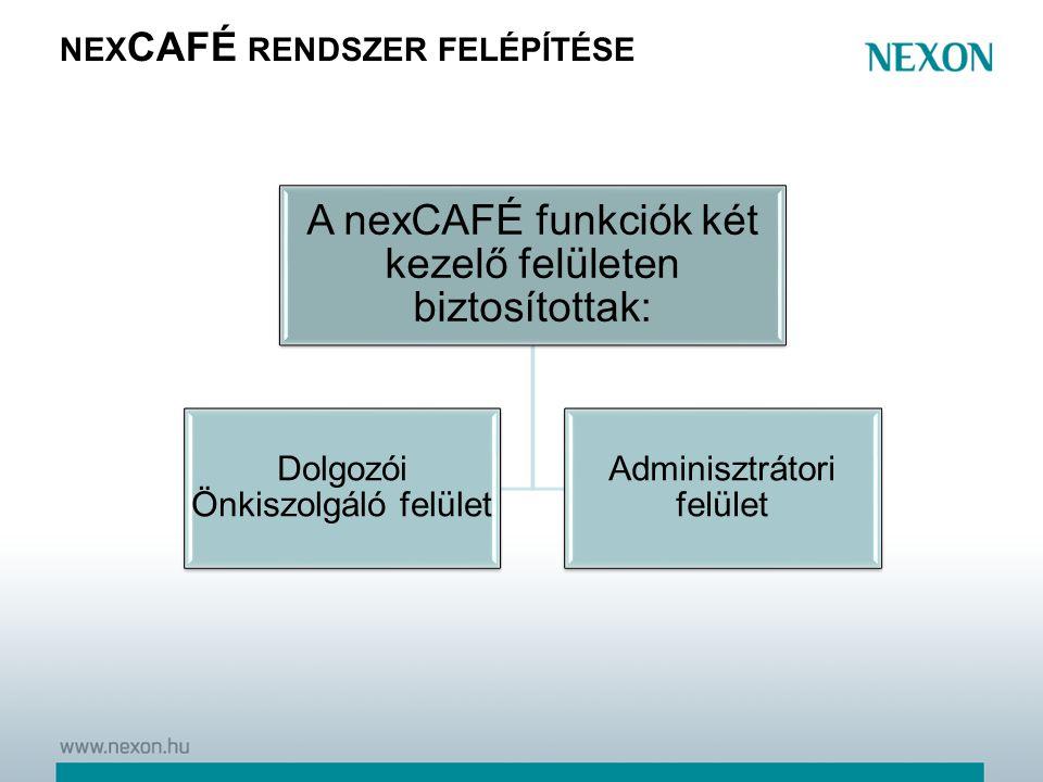NEX CAFÉ RENDSZER FELÉPÍTÉSE A nexCAFÉ funkciók két kezelő felületen biztosítottak: Dolgozói Önkiszolgáló felület Adminisztrátori felület