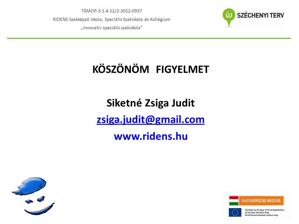 KÖSZÖNÖM FIGYELMET Siketné Zsiga Judit zsiga.judit@gmail.com www.ridens.hu TÁMOP-3.1.4-12/2-2012-0937 RIDENS Szakképző Iskola, Speciális Szakiskola és