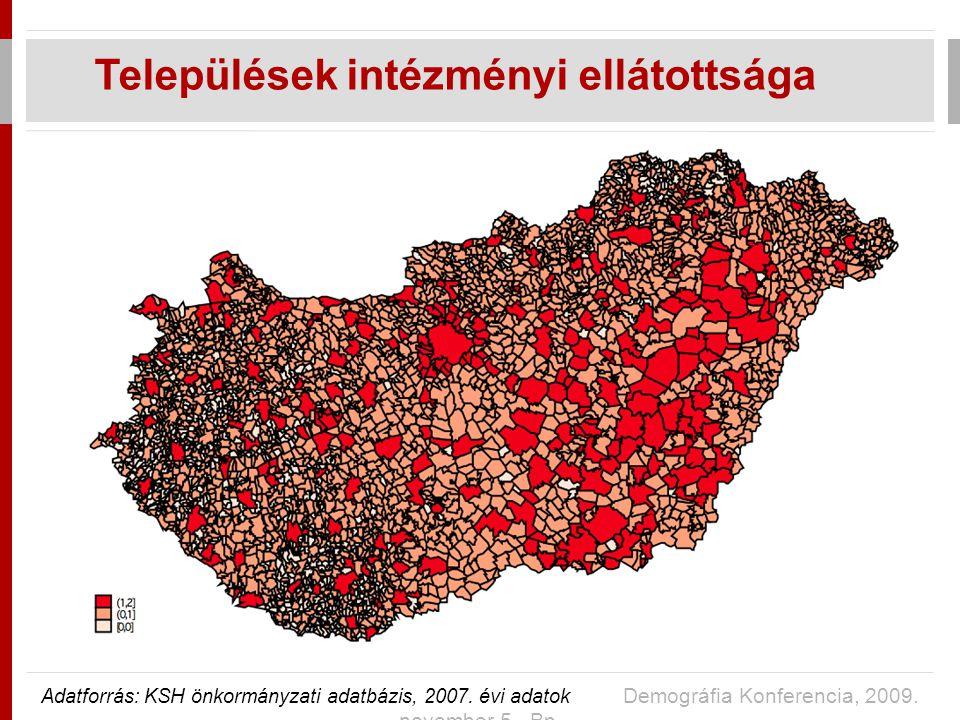 Települések intézményi ellátottsága Adatforrás: KSH önkormányzati adatbázis, 2007.