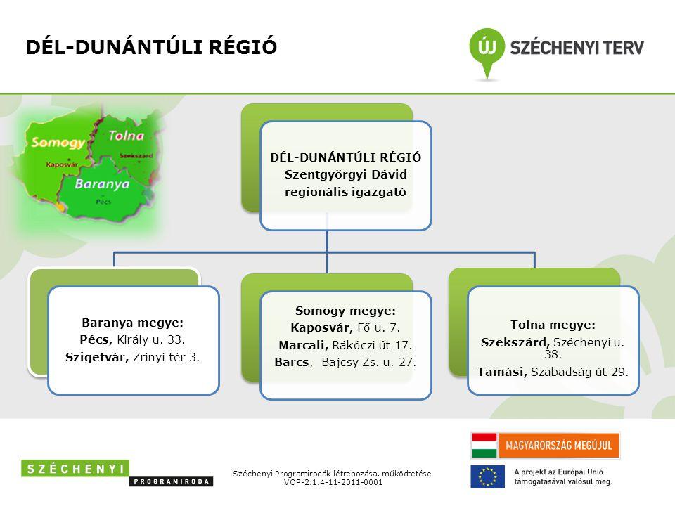 DÉL-DUNÁNTÚLI RÉGIÓ Szentgyörgyi Dávid regionális igazgató Baranya megye: Pécs, Király u.