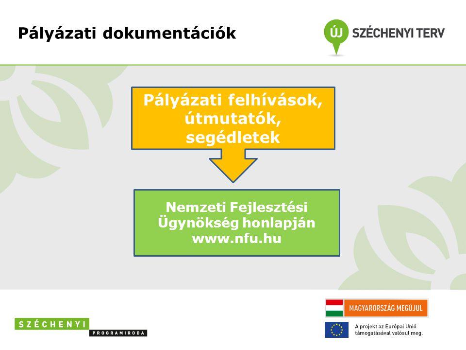 Pályázati dokumentációk Pályázati felhívások, útmutatók, segédletek Nemzeti Fejlesztési Ügynökség honlapján www.nfu.hu