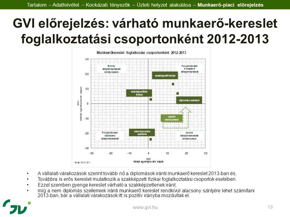 •A vállalati várakozások szerint tovább nő a diplomások iránti munkaerő kereslet 2013-ban és, •Továbbra is erős kereslet mutatkozik a szakképzett fizikai foglalkoztatási csoportok esetében.