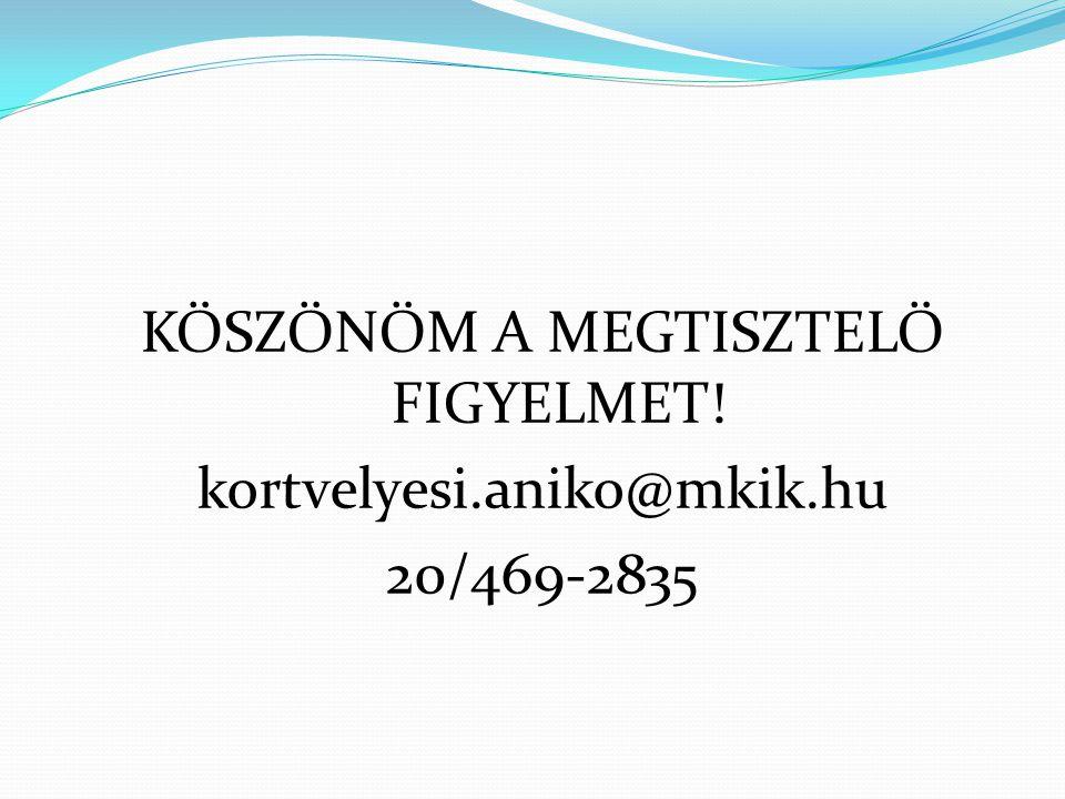 KÖSZÖNÖM A MEGTISZTELŐ FIGYELMET! kortvelyesi.aniko@mkik.hu 20/469-2835