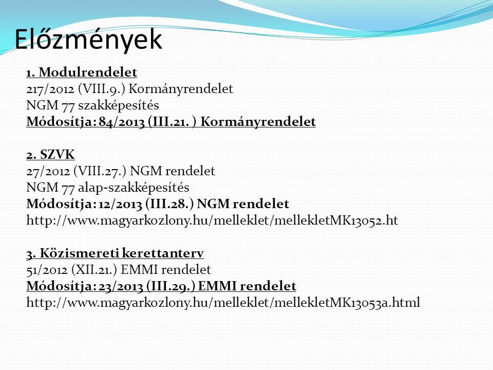 Előzmények 1. Modulrendelet 217/2012 (VIII.9.) Kormányrendelet NGM 77 szakképesítés Módosítja: 84/2013 (III.21. ) Kormányrendelet 2. SZVK 27/2012 (VII