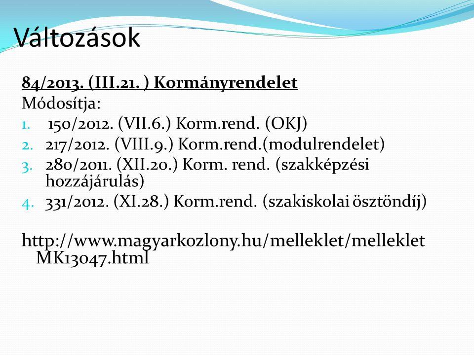 Változások 84/2013. (III.21. ) Kormányrendelet Módosítja: 1. 150/2012. (VII.6.) Korm.rend. (OKJ) 2. 217/2012. (VIII.9.) Korm.rend.(modulrendelet) 3. 2