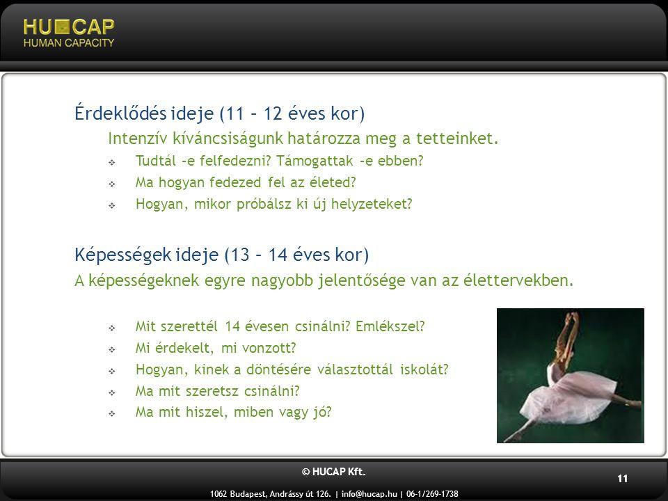 © HUCAP Kft. 1062 Budapest, Andrássy út 126. | info@hucap.hu | 06-1/269-1738 11 Érdeklődés ideje (11 – 12 éves kor) Intenzív kíváncsiságunk határozza