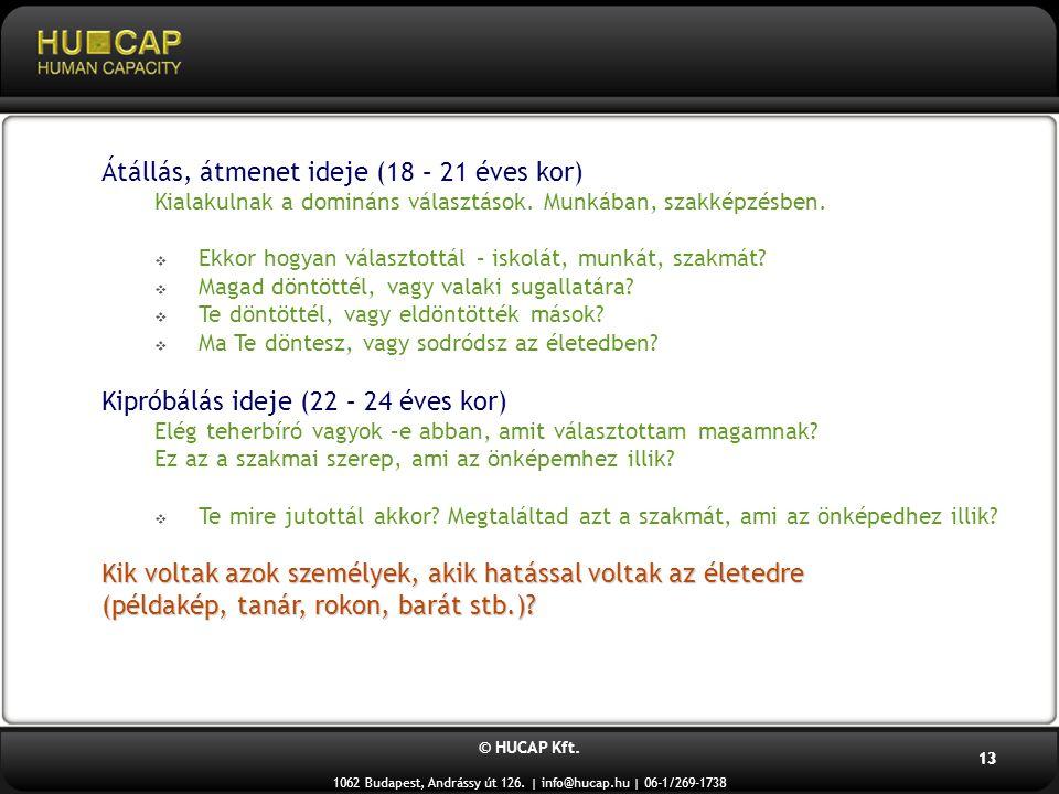 © HUCAP Kft. 1062 Budapest, Andrássy út 126. | info@hucap.hu | 06-1/269-1738 13 Átállás, átmenet ideje (18 – 21 éves kor) Kialakulnak a domináns válas