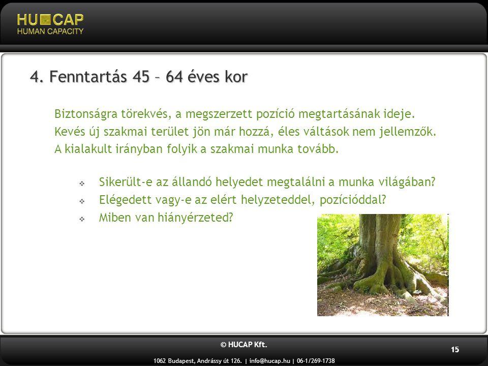 © HUCAP Kft. 1062 Budapest, Andrássy út 126. | info@hucap.hu | 06-1/269-1738 15 4. Fenntartás 45 – 64 éves kor Biztonságra törekvés, a megszerzett poz