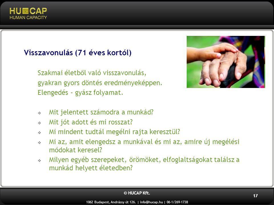 © HUCAP Kft. 1062 Budapest, Andrássy út 126. | info@hucap.hu | 06-1/269-1738 17 Visszavonulás (71 éves kortól) Szakmai életből való visszavonulás, gya