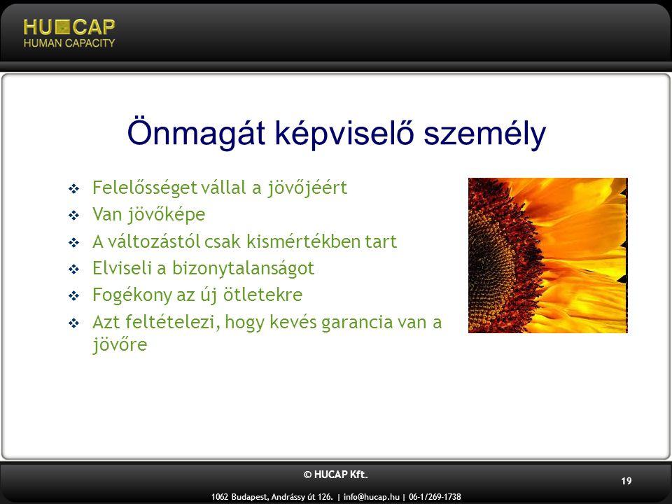 © HUCAP Kft. 1062 Budapest, Andrássy út 126. | info@hucap.hu | 06-1/269-1738 19 Önmagát képviselő személy  Felelősséget vállal a jövőjéért  Van jövő