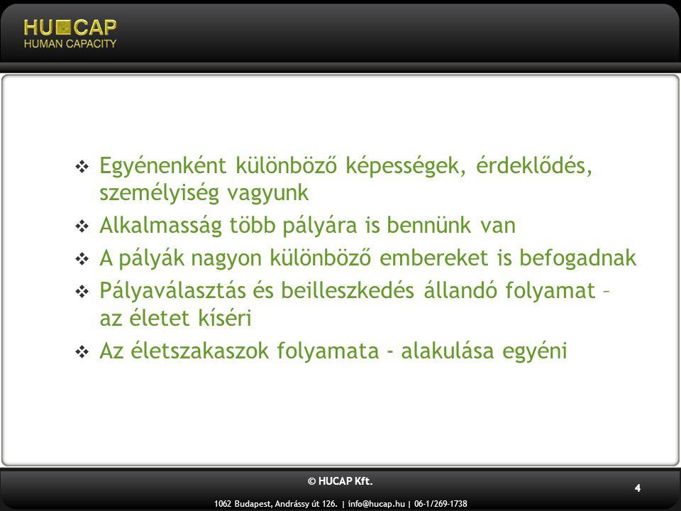 © HUCAP Kft. 1062 Budapest, Andrássy út 126. | info@hucap.hu | 06-1/269-1738 4  Egyénenként különböző képességek, érdeklődés, személyiség vagyunk  A