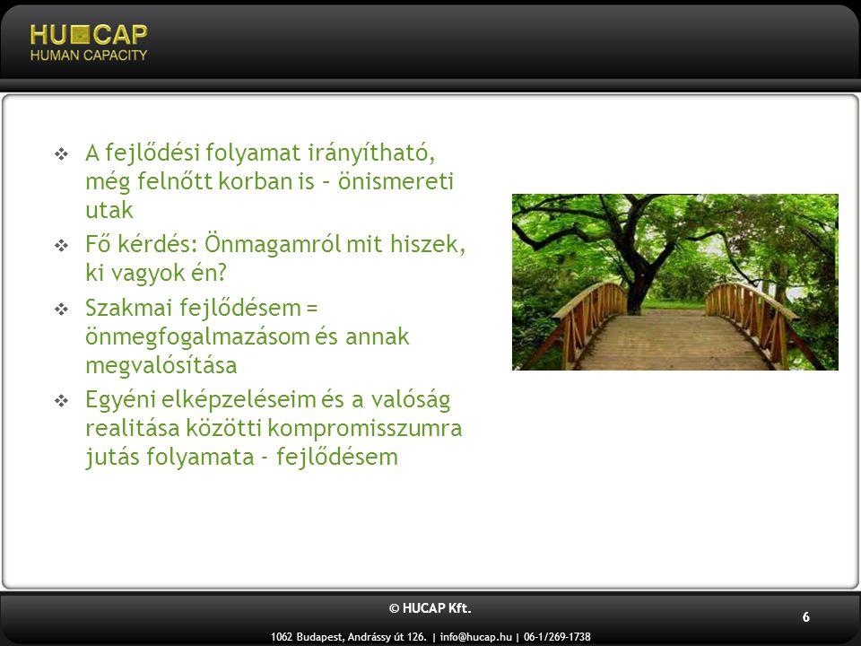 © HUCAP Kft. 1062 Budapest, Andrássy út 126. | info@hucap.hu | 06-1/269-1738 6  A fejlődési folyamat irányítható, még felnőtt korban is – önismereti