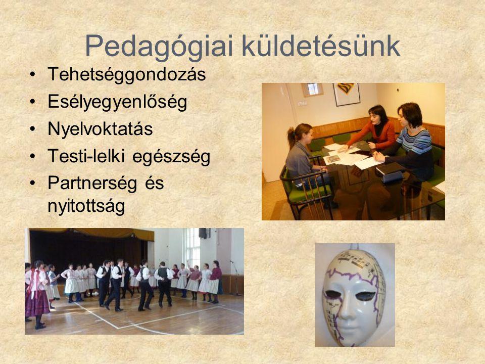 Pedagógiai küldetésünk •Tehetséggondozás •Esélyegyenlőség •Nyelvoktatás •Testi-lelki egészség •Partnerség és nyitottság
