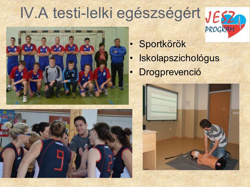 IV.A testi-lelki egészségért •Sportkörök •Iskolapszichológus •Drogprevenció