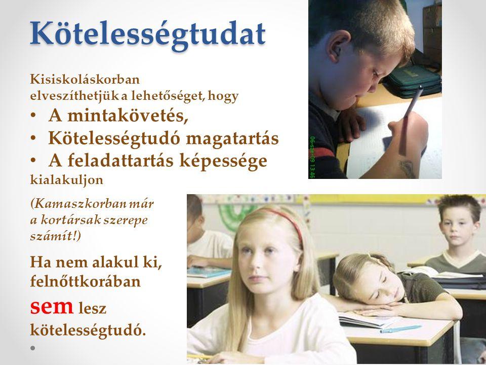 Kötelességtudat Kisiskoláskorban elveszíthetjük a lehetőséget, hogy • A mintakövetés, • Kötelességtudó magatartás • A feladattartás képessége kialakul