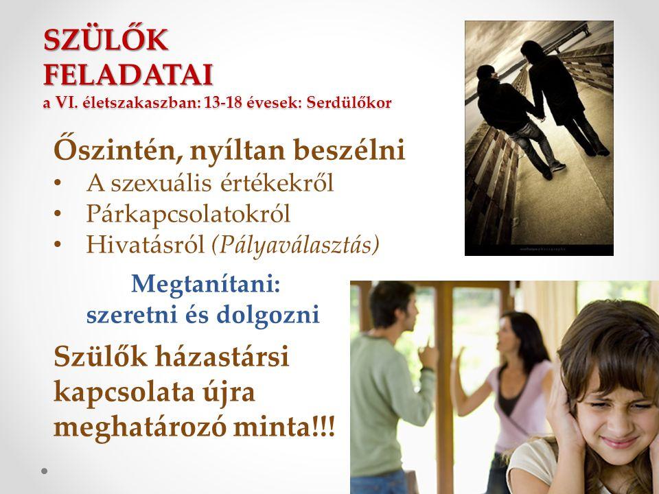 SZÜLŐK FELADATAI a VI. életszakaszban: 13-18 évesek: Serdülőkor Őszintén, nyíltan beszélni • A szexuális értékekről • Párkapcsolatokról • Hivatásról (