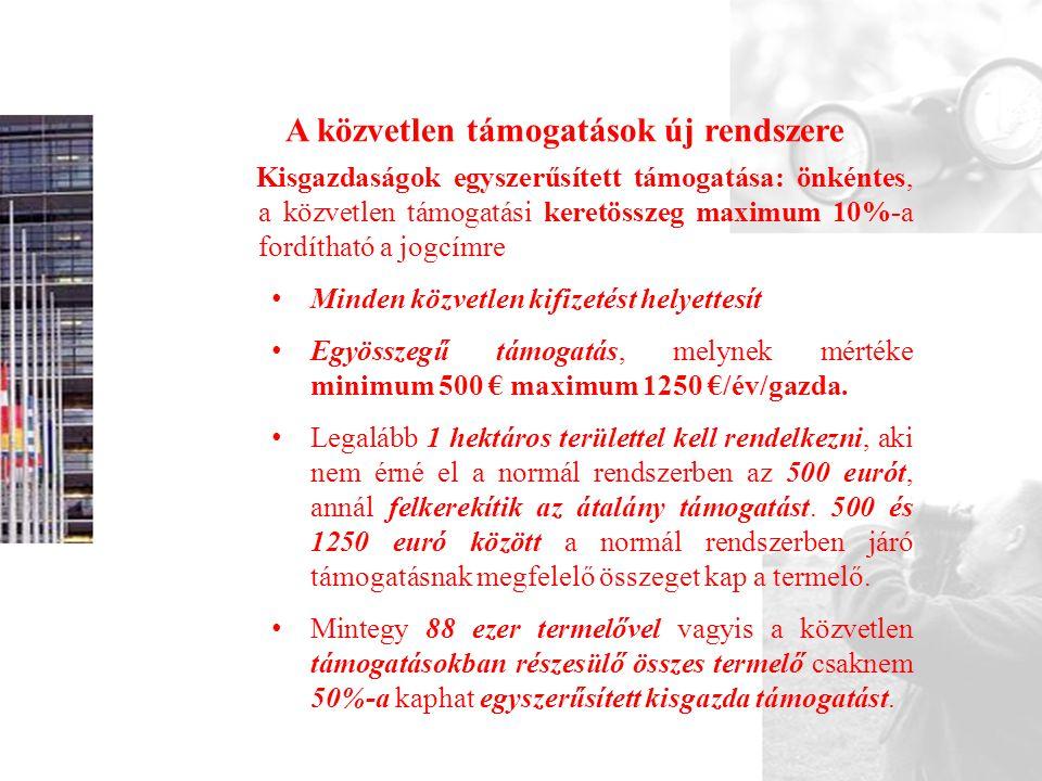 A közvetlen támogatások új rendszere Kisgazdaságok egyszerűsített támogatása: önkéntes, a közvetlen támogatási keretösszeg maximum 10%-a fordítható a jogcímre • Minden közvetlen kifizetést helyettesít • Egyösszegű támogatás, melynek mértéke minimum 500 € maximum 1250 €/év/gazda.