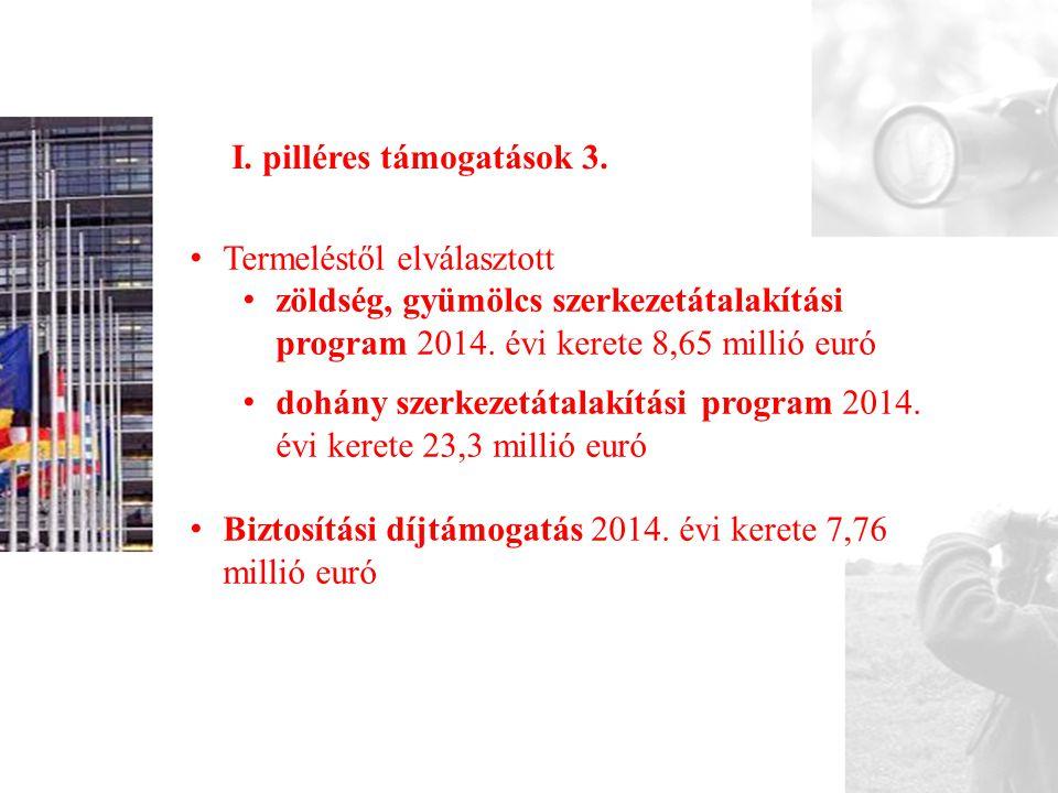 I. pilléres támogatások 3. • Termeléstől elválasztott • zöldség, gyümölcs szerkezetátalakítási program 2014. évi kerete 8,65 millió euró • dohány szer