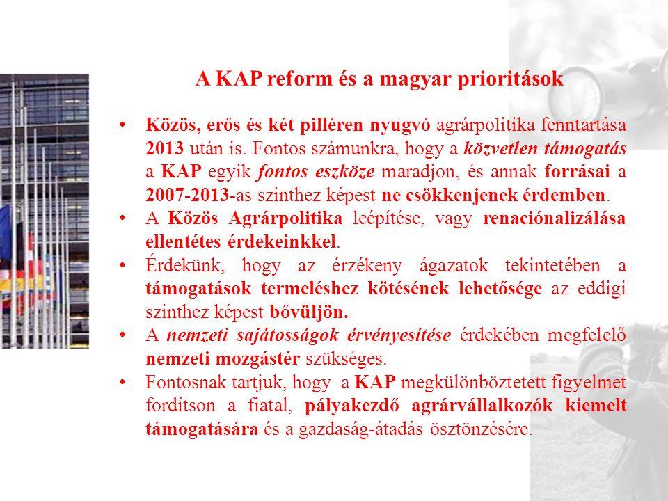 A KAP reform és a magyar prioritások • Közös, erős és két pilléren nyugvó agrárpolitika fenntartása 2013 után is. Fontos számunkra, hogy a közvetlen t
