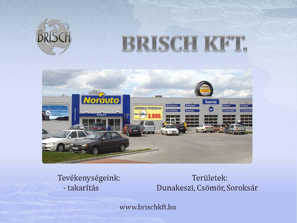 Tevékenységeink: Területek: - takarítás Dunakeszi, Csömör, Soroksár www.brischkft.hu