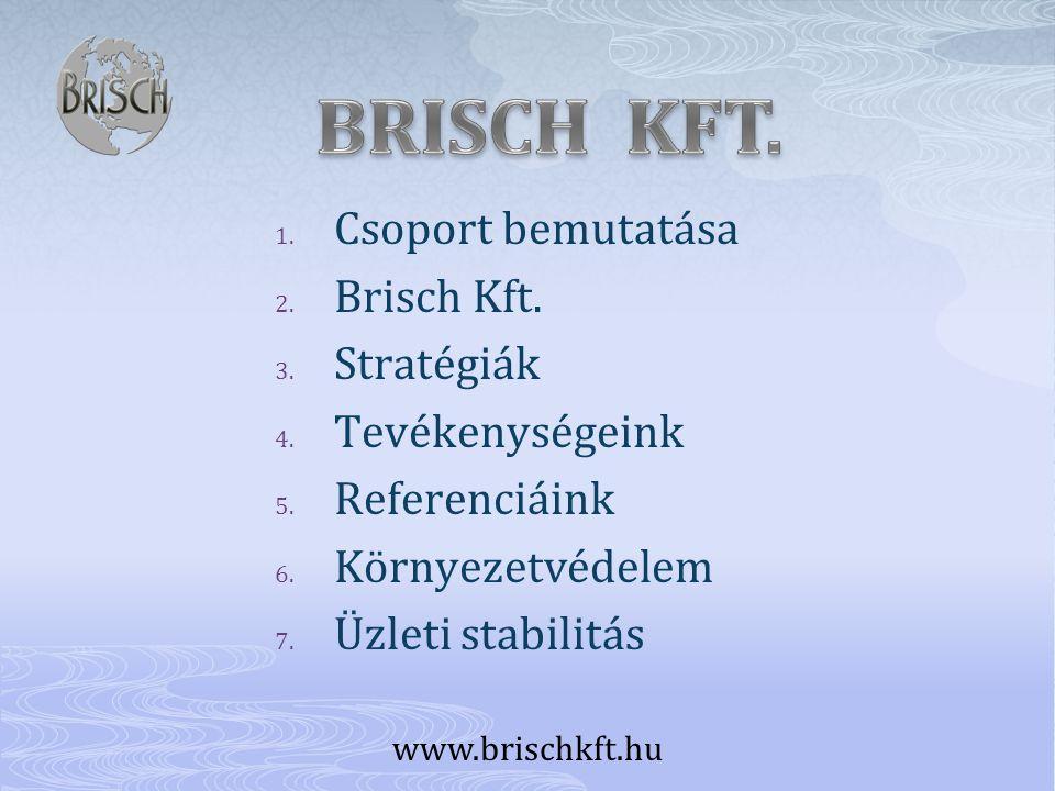 1. Csoport bemutatása 2. Brisch Kft. 3. Stratégiák 4. Tevékenységeink 5. Referenciáink 6. Környezetvédelem 7. Üzleti stabilitás www.brischkft.hu