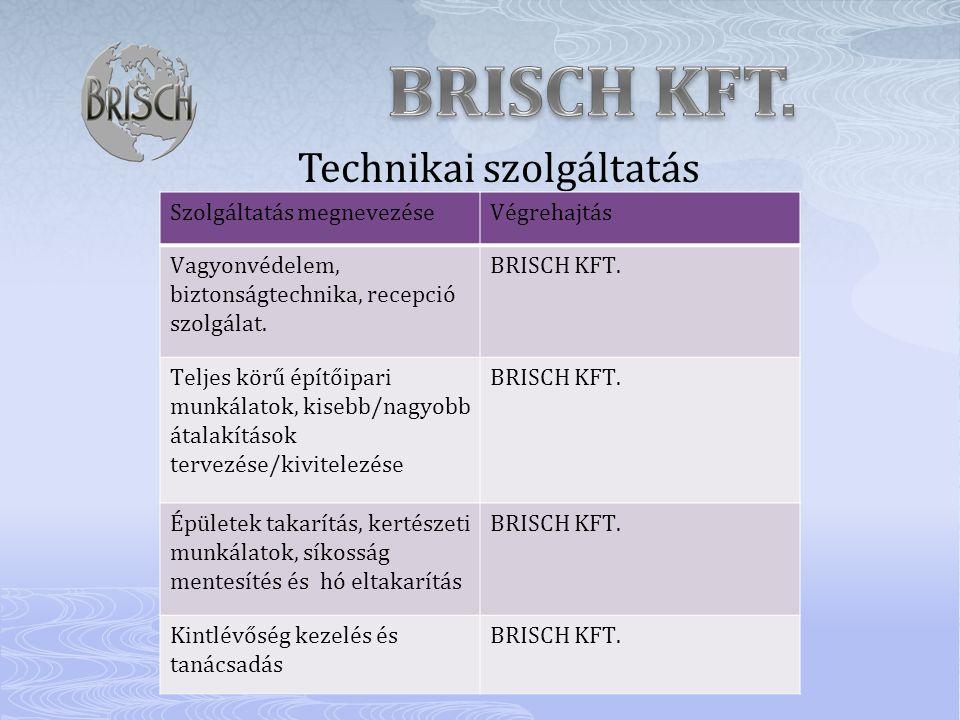 Technikai szolgáltatás Szolgáltatás megnevezéseVégrehajtás Vagyonvédelem, biztonságtechnika, recepció szolgálat. BRISCH KFT. Teljes körű építőipari mu