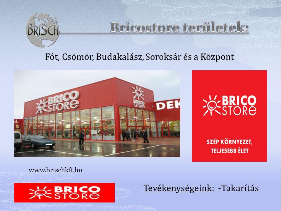 Fót, Csömör, Budakalász, Soroksár és a Központ Tevékenységeink: -Takarítás www.brischkft.hu