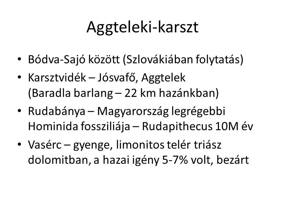 Aggteleki-karszt • Bódva-Sajó között (Szlovákiában folytatás) • Karsztvidék – Jósvafő, Aggtelek (Baradla barlang – 22 km hazánkban) • Rudabánya – Magy