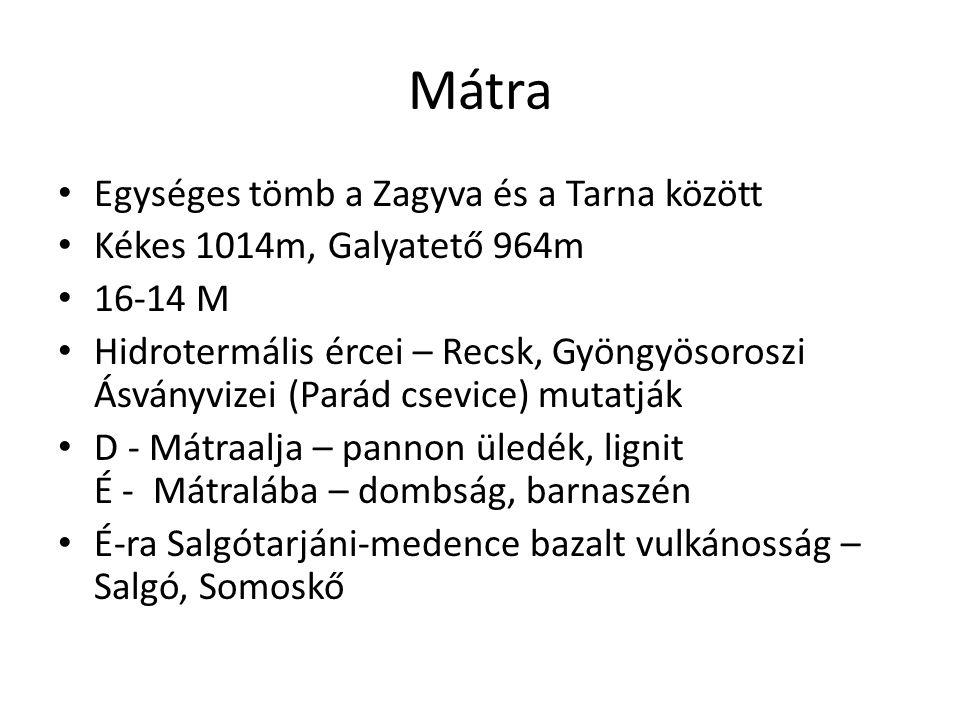 Mátra • Egységes tömb a Zagyva és a Tarna között • Kékes 1014m, Galyatető 964m • 16-14 M • Hidrotermális ércei – Recsk, Gyöngyösoroszi Ásványvizei (Pa