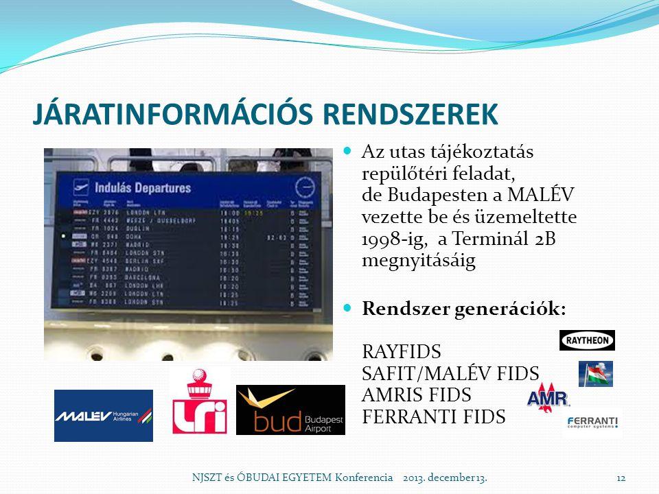 JÁRATINFORMÁCIÓS RENDSZEREK  Az utas tájékoztatás repülőtéri feladat, de Budapesten a MALÉV vezette be és üzemeltette 1998-ig, a Terminál 2B megnyitásáig  Rendszer generációk: RAYFIDS SAFIT/MALÉV FIDS AMRIS FIDS FERRANTI FIDS NJSZT és ÓBUDAI EGYETEM Konferencia 2013.