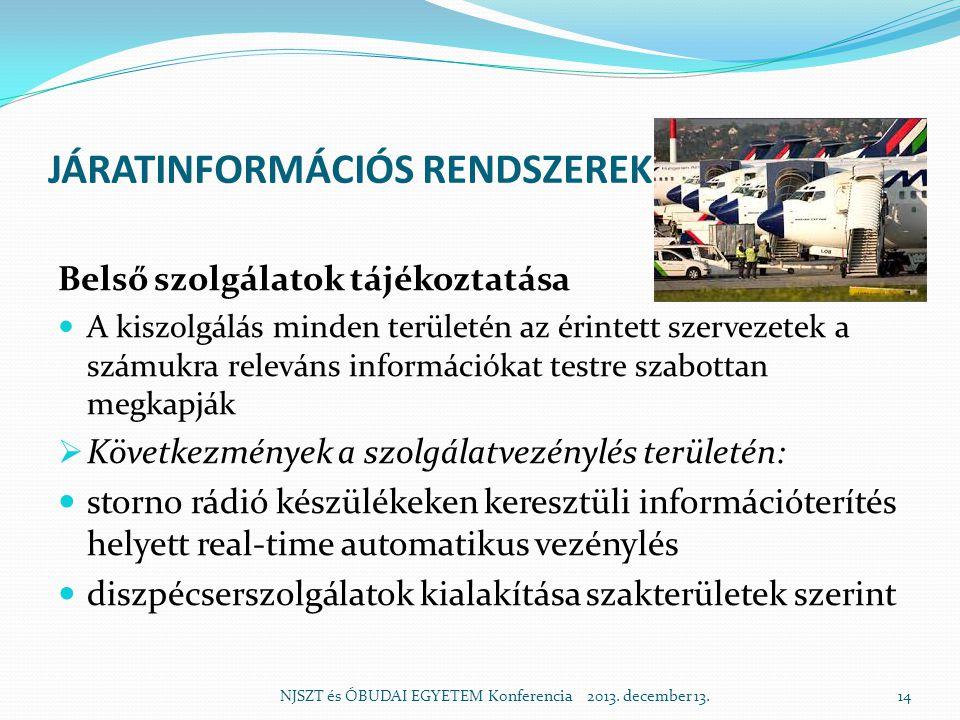 JÁRATINFORMÁCIÓS RENDSZEREK Belső szolgálatok tájékoztatása  A kiszolgálás minden területén az érintett szervezetek a számukra releváns információkat