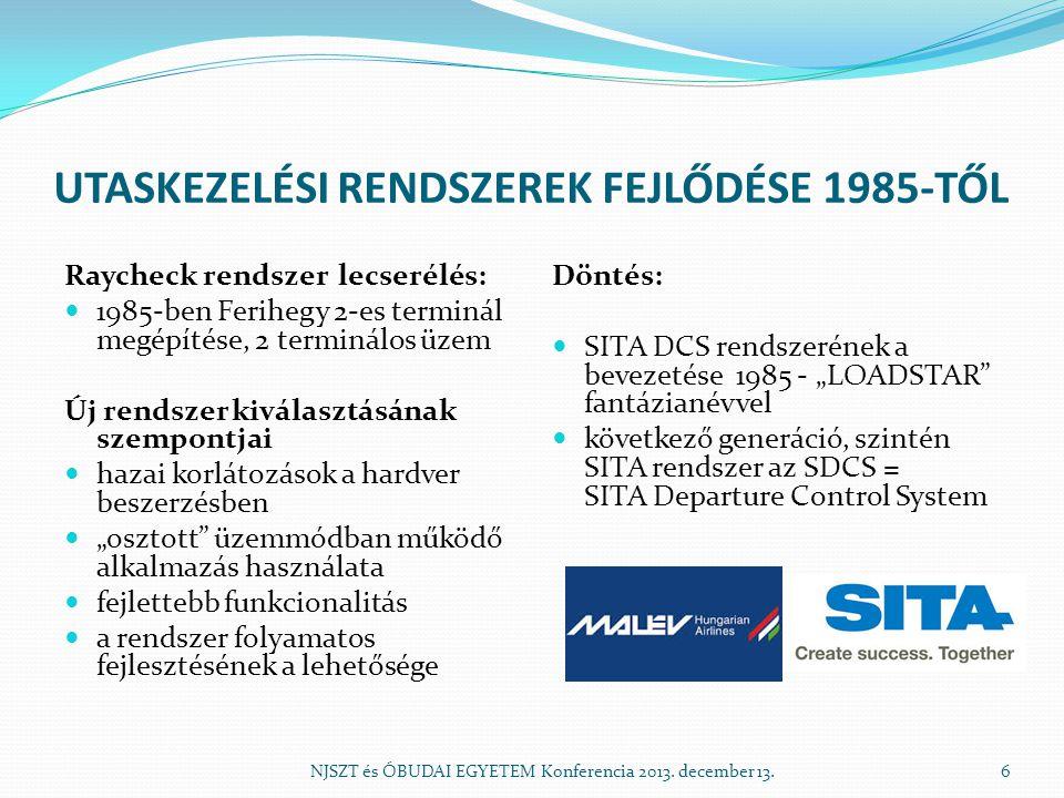 """UTASKEZELÉSI RENDSZEREK FEJLŐDÉSE 1985-TŐL Raycheck rendszer lecserélés:  1985-ben Ferihegy 2-es terminál megépítése, 2 terminálos üzem Új rendszer kiválasztásának szempontjai  hazai korlátozások a hardver beszerzésben  """"osztott üzemmódban működő alkalmazás használata  fejlettebb funkcionalitás  a rendszer folyamatos fejlesztésének a lehetősége Döntés:  SITA DCS rendszerének a bevezetése 1985 - """"LOADSTAR fantázianévvel  következő generáció, szintén SITA rendszer az SDCS = SITA Departure Control System NJSZT és ÓBUDAI EGYETEM Konferencia 2013."""