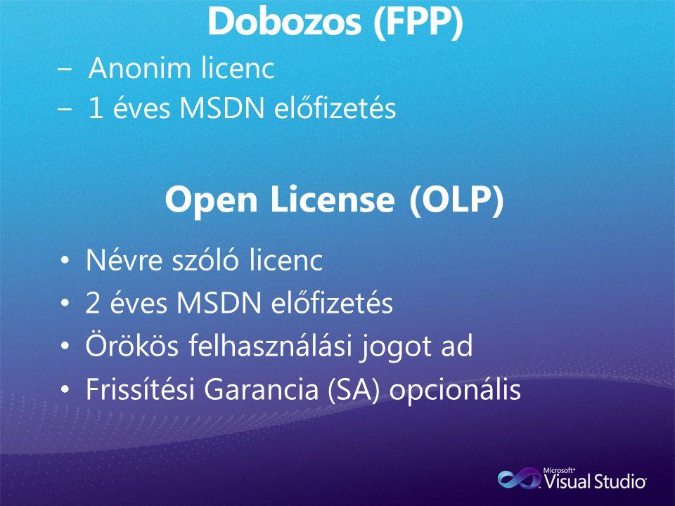• Névre szóló licenc • 2 éves MSDN előfizetés • Örökös felhasználási jogot ad • Frissítési Garancia (SA) opcionális Open License (OLP)