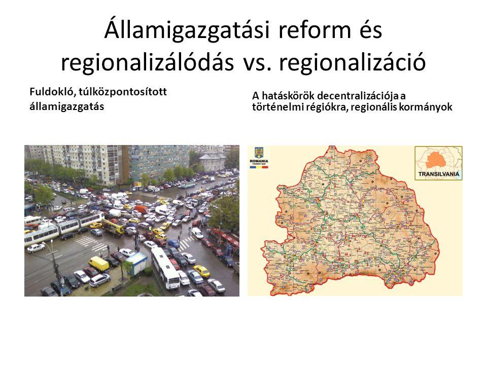 Államigazgatási reform és regionalizálódás vs. regionalizáció Fuldokló, túlközpontosított államigazgatás A hatáskörök decentralizációja a történelmi r