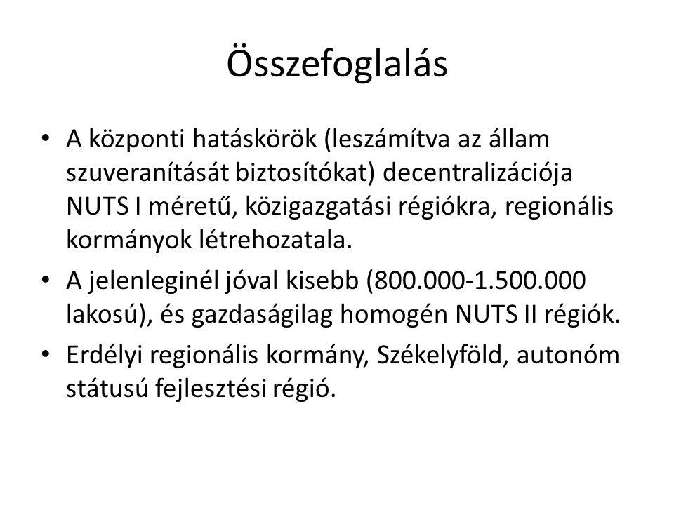 Összefoglalás • A központi hatáskörök (leszámítva az állam szuveranítását biztosítókat) decentralizációja NUTS I méretű, közigazgatási régiókra, regio