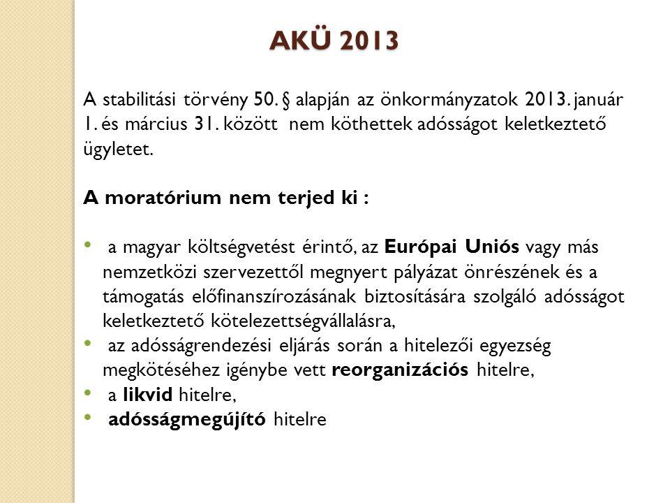 AKÜ 2013 A stabilitási törvény 50. § alapján az önkormányzatok 2013.