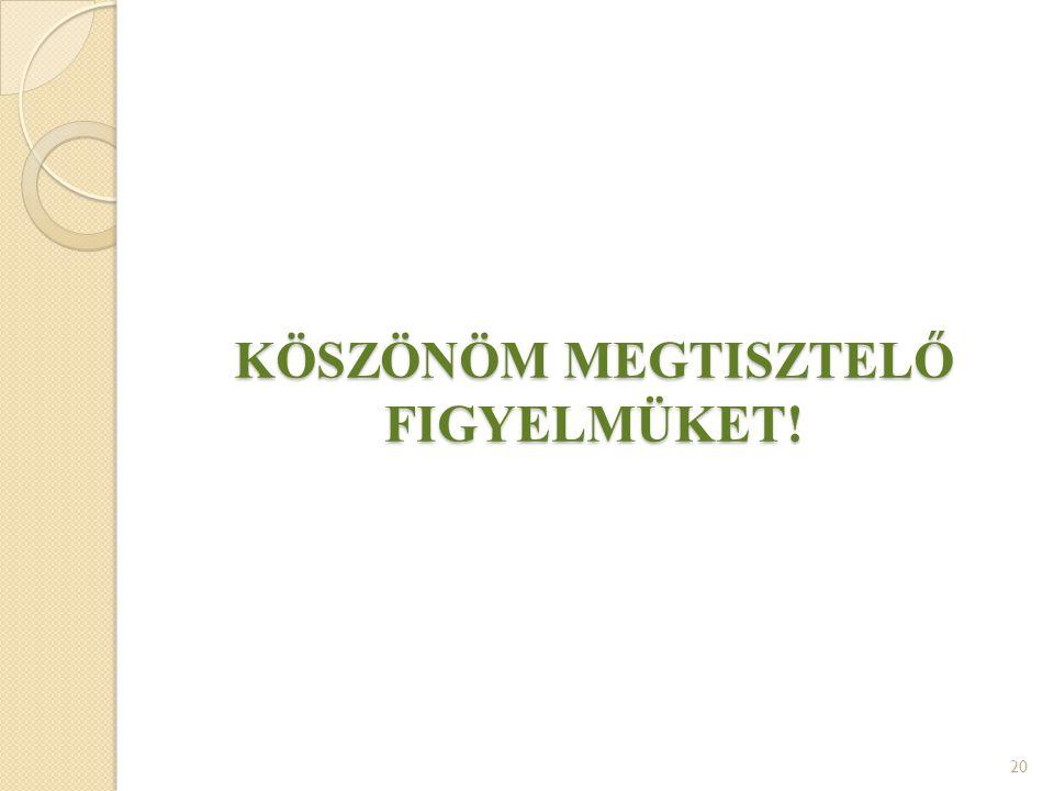 KÖSZÖNÖM MEGTISZTELŐ FIGYELMÜKET! 20