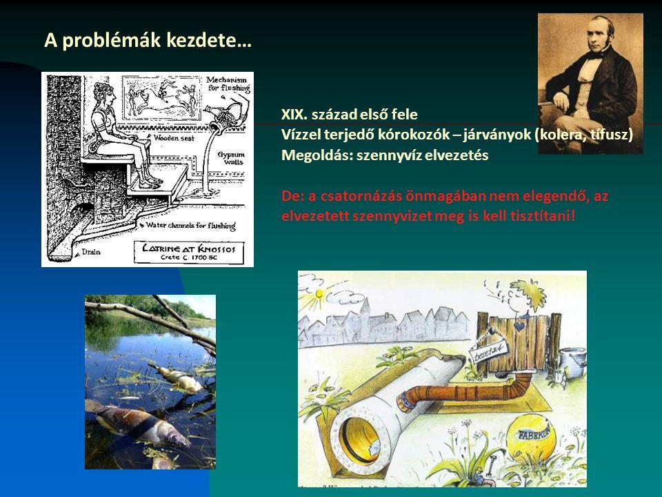 A problémák kezdete… XIX. század első fele Vízzel terjedő kórokozók – járványok (kolera, tífusz) Megoldás: szennyvíz elvezetés De: a csatornázás önmag