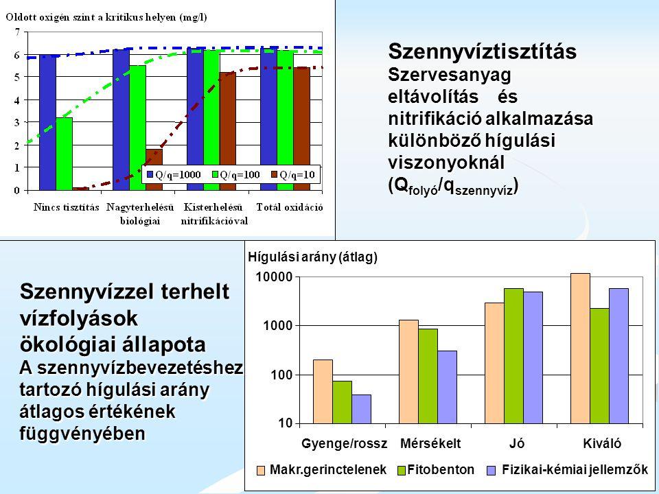 Hígulási arány (átlag) 10 100 1000 10000 Gyenge/rosszMérsékeltJóKiváló Makr.gerinctelenekFitobentonFizikai-kémiai jellemzők Szennyvízzel terhelt vízfo